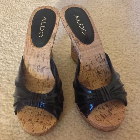 7f360d28ea Aldo Shoes   Black Cork Peep Toe Espadrille Wedge Sandals   Poshmark